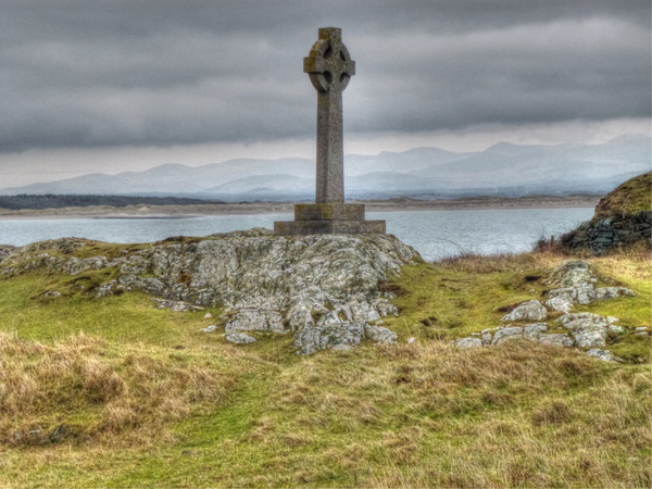 Celtic cross on Llanddwyn
